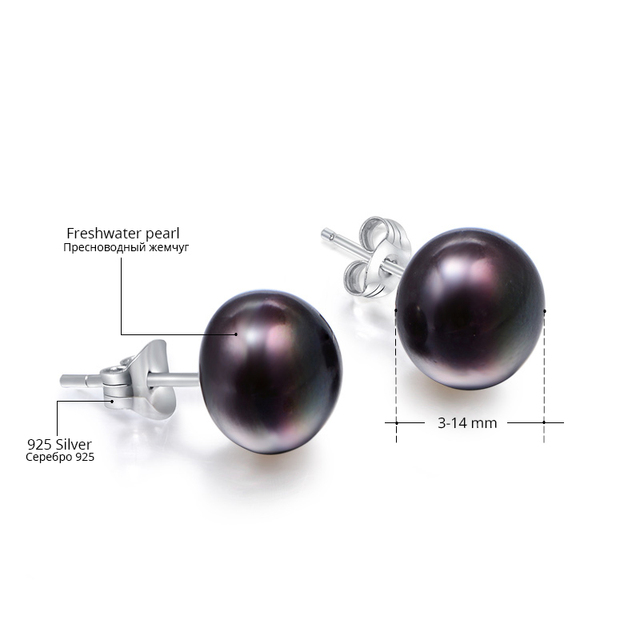 925 Sterling Silver Stud Earrings with Different Size Natural Freshwater Pearls
