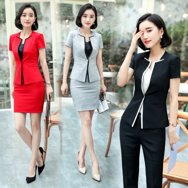 2018 Formal Ladies Summer Blazers Professional Uniform Designs Pantsuits With Jackets And Pants For Women Female Trousers Sets