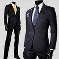 Juegos ocasionales de los hombres regulares de manga larga de algodón masculina trajes slim fit de alta calidad