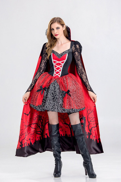 77497f8ccb2cb US $26.91 8% OFF|Adult Women Halloween Queen Vampire Costume Ladies Black  Robe Dress Short Lace Fancy Cosplay Cloak Outfit For Girls Plus Size-in ...