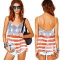 GZDL Hot Summer Sale Novo Estilo Moda Feminina Casual Solta Camisa Sem Encosto Alcinhas Estrela Imprimiu a Camisa CL2972