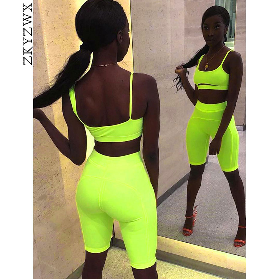 563eca06cf8 ZKYZWX Neon Sexy Two Piece Set Crop Top and Biker Shorts Summer Clothes for Women  Tracksuit Club Outfits Festival Matching Sets