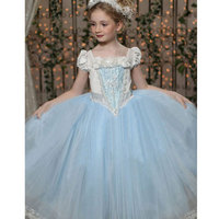 2 7Years Girls Cinderella Dresses Princess Dress Shawl Fairy Tail Toddler Baby Wedding Party Sheer Dress