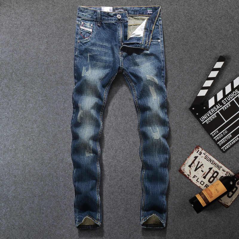 Pantalones vaqueros de mezclilla de algodón de Ajuste Recto de Color oscuro de diseño Vintage italiano para hombre Jeans clásicos de moda homme