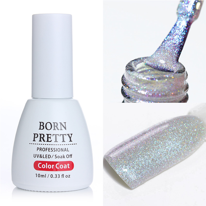 10ml BORN PRETTY Holografisk UV Gel Polsk Soak Off for UV LED Manikyr 1 Flaske Nail Art Gel Polsk Base Coat Ingen Tørke Top Coat