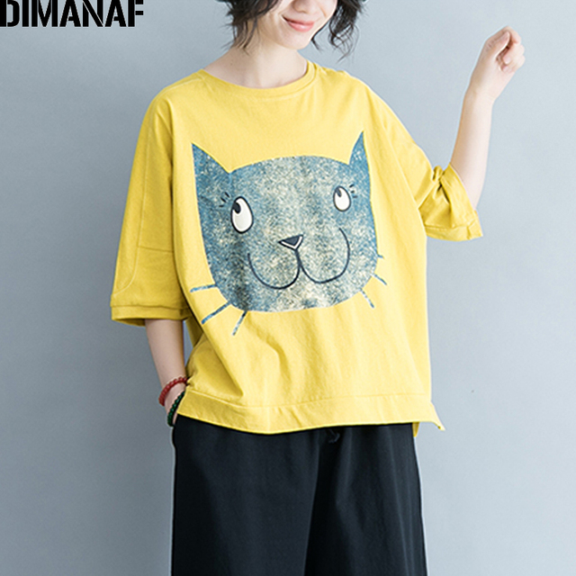 bcefb3aee3a DIMANAF Women T-Shirt Summer Plus Size Cotton Linen Basic Tops Thin Print  Cat Female Casual Loose Tees Yellow Large tshirt 2018