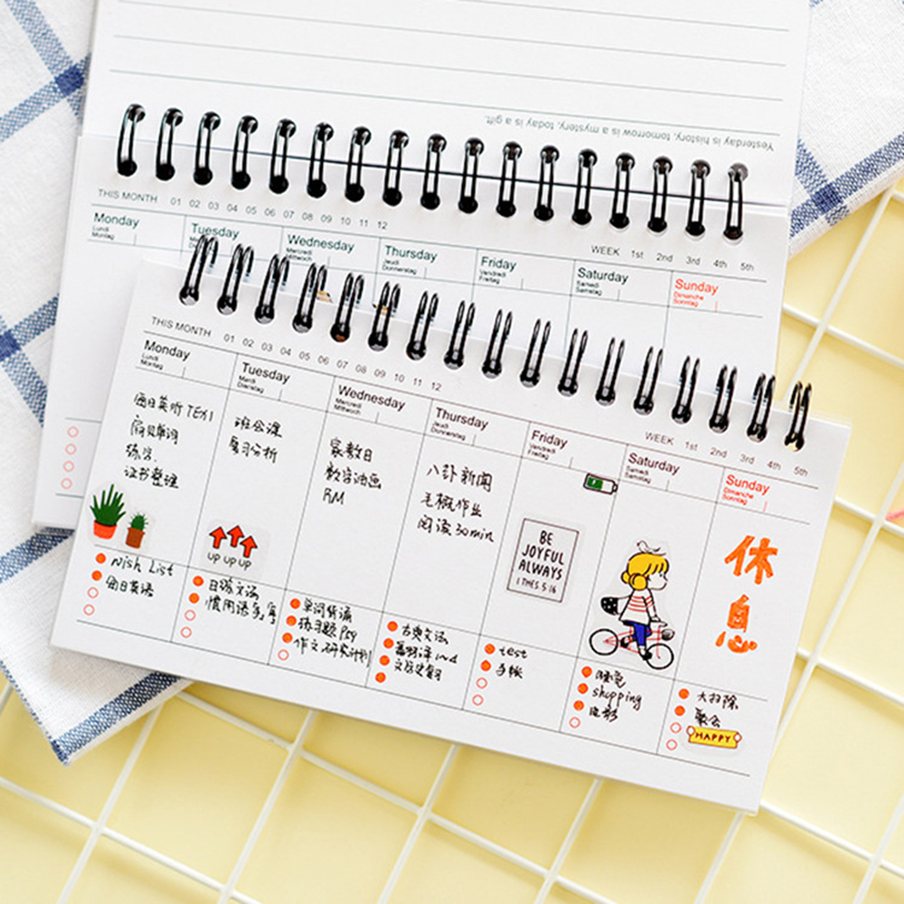 Kawaii Cute Panda Pvc Daily Weekly Planner Spiral Notebook Day Plan Diary Notebook Time Organizer School Supplies Agenda plan