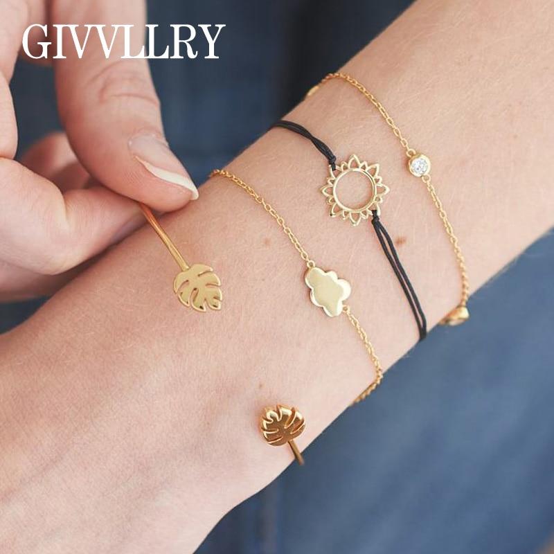 GIVVLLRY Simple Metal Cloud Chain Bracelets for Women Bohemian Elegant Tropical Leaf Cuff Bracelets & Bangles Fashion Jewelry
