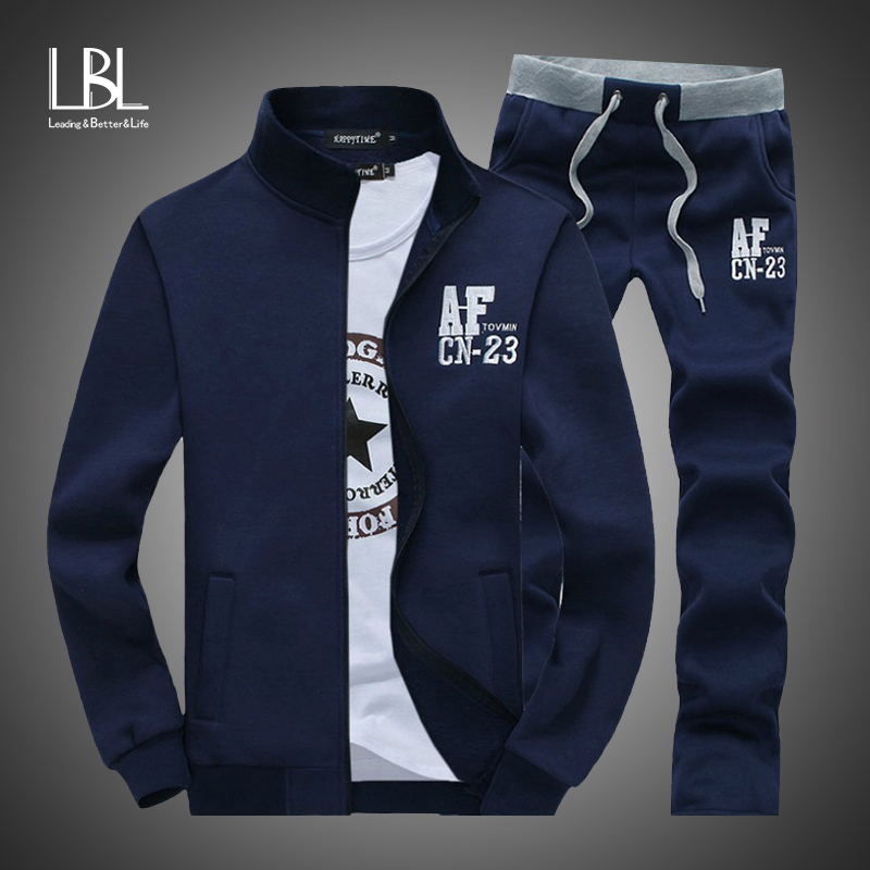 Brand New Men Sets Fashion Sporting Suit Autumn 2PC Zipper Sweatshirt +Sweatpants Mens Clothing 2 Pieces Sets Slim Tracksuit