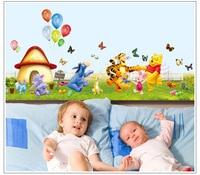 50 adet/paket Winnie The Pooh Duvar Sticker Kreş Boy çocuk bebek Odası aile Sanat Ev Çıkartmaları Dekor
