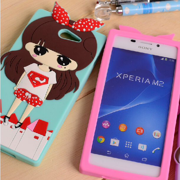 online store fcbd7 41af9 US $7.99 |New Soft Silicone Rubber Cover Back Case For Sony Xperia M2 dDual  D2302 D2303 S50h Cute Cartoon Girl Red Bow With Screen Film on ...