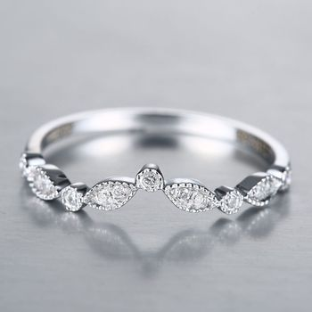 Art Deco 14k Solid White Gold SI/H Natural Diamonds Engagement Ring Wedding Band Party Anniversary Fine Jewelry 2