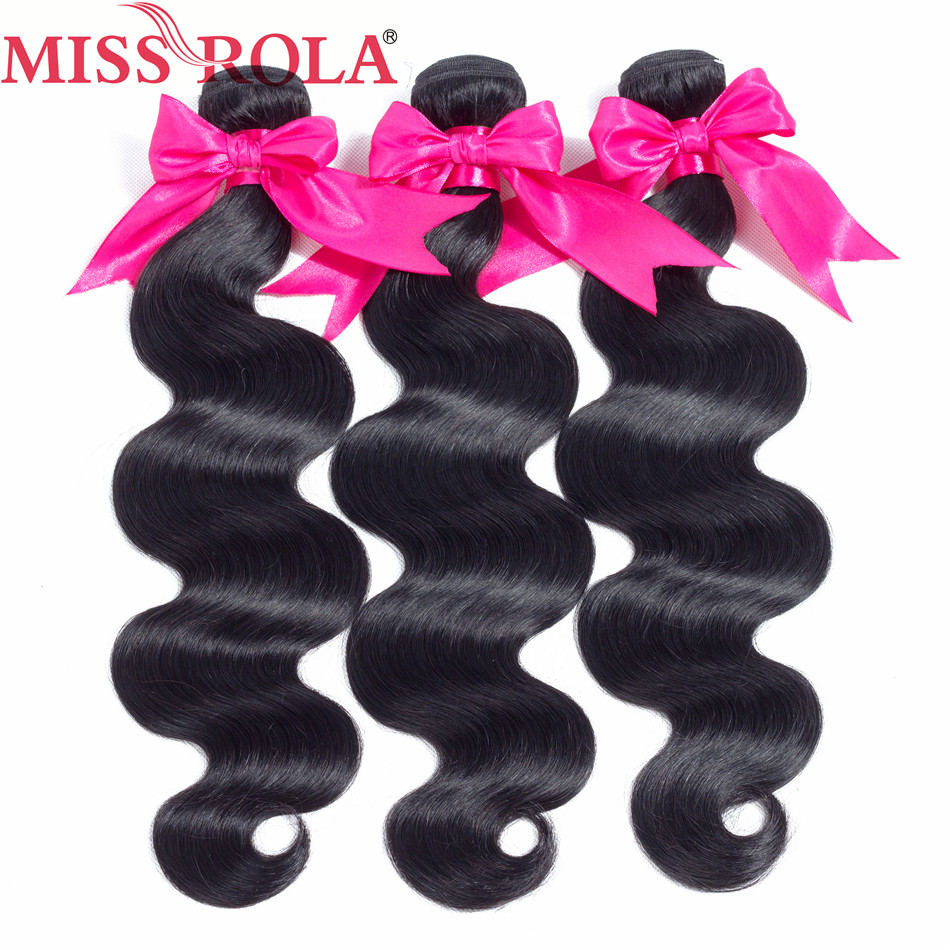 Miss Rola Hair Pre-Colored Peruvian Hair Body Wave 3 Bundles Natural Color 100% Human Hair Non Remy Hair Weaving Free Shipping