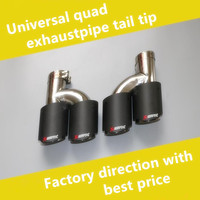 Left Right Dual Exhaust Tip For AKRAPOVIC AK Carbon Fiber Tail Tip Universal Quad Exhaust
