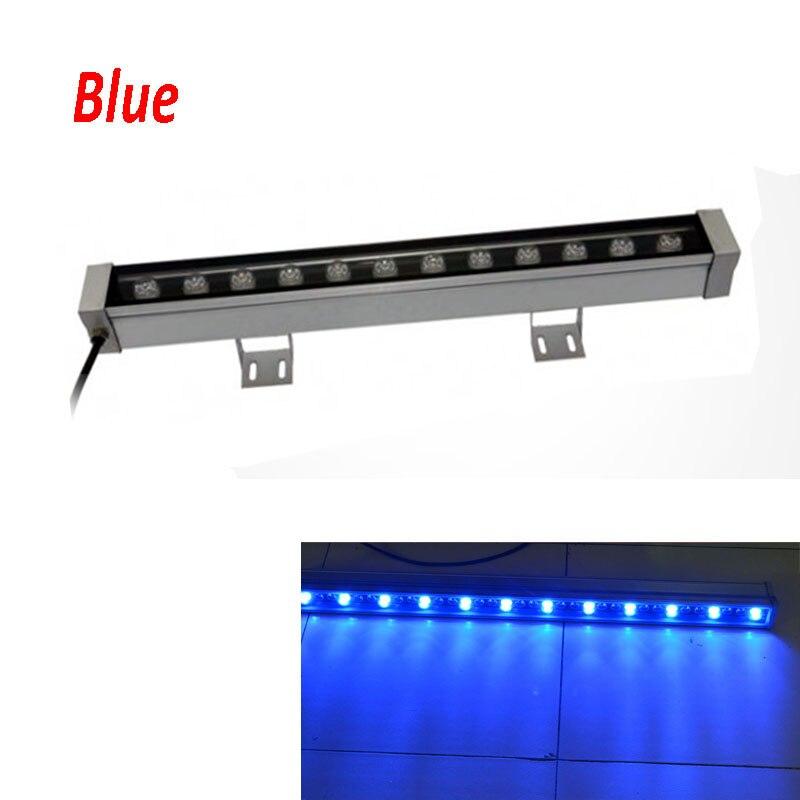 2 шт./лот высокой мощности 12 Вт 46*46*500 мм IP65 водонепроницаемый открытый светодиодный прожектор светодиодный промывная настенная лампа Пейзаж Настенный светодиодный светильник - Испускаемый цвет: Синий