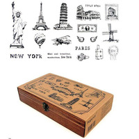 Vintage World Landscape Building Stamps Set Big Siz Gift Wooden Box Scrapbook Decorative DIY Stamp Funny