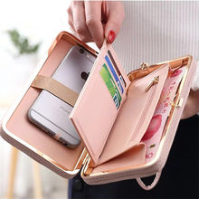 2018 New fashion purse wallet female famous brand card holders cellphone pocket gifts for women money bag clutch