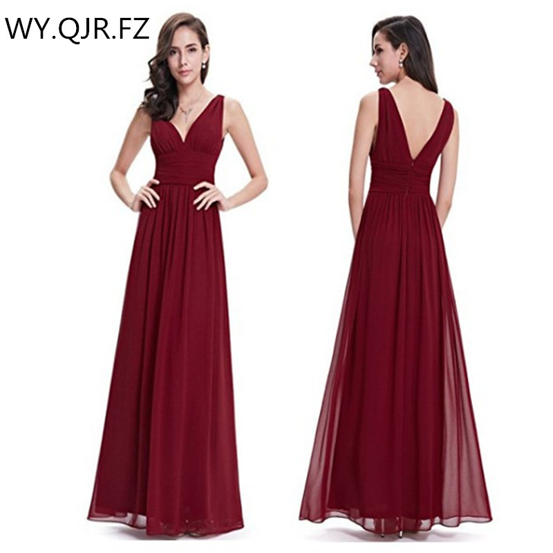 SYX1063#Burgundy-red Double V collar Long   Bridesmaid     Dresses   Bohemia wedding party   dress   gown prom wholesale fashion clothing