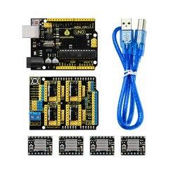 Бесплатная доставка! Keyestudio CNC Комплект для arduino CNC Shield V3  UNO R3  4 шт A4988 Драйвер/GRBL совместимый