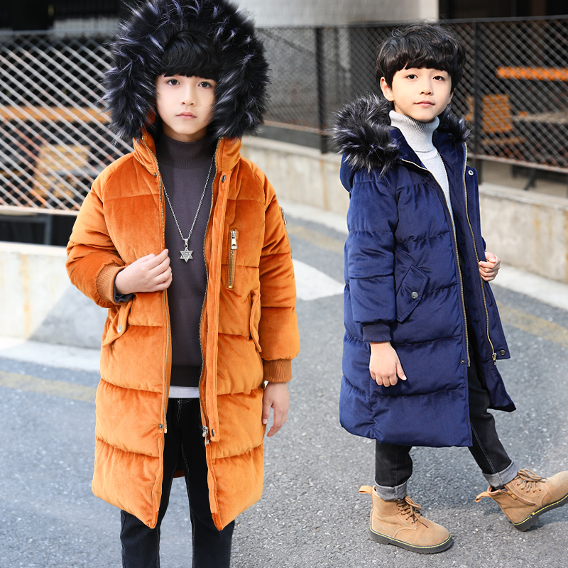 FYH Kids Clothes Winter Boys Fur Hooded Long Parkas Kids Boys Down Coat Solid Color Children Warm Thicken Cotton Padded Jackets children winter coats jacket baby boys warm outerwear thickening outdoors kids snow proof coat parkas cotton padded clothes
