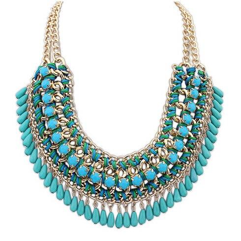 2015 nova Luxury Bib Collier Maxi colares mulheres longo Bohemian contas borla jóias colar declaração traje gargantilha tecer Z22