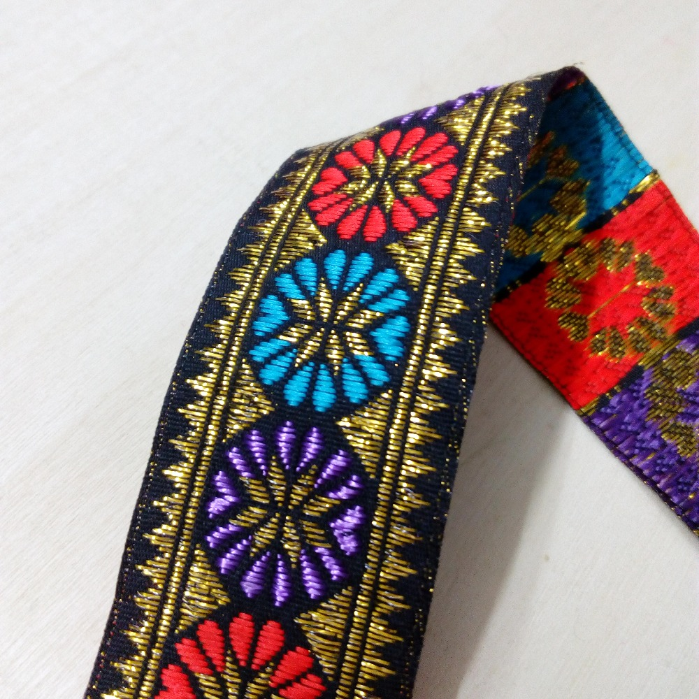 3.3cm 33mm 1-3/8 Purple Blue Red Gold Filigree Zigzag Flowers Ribbon Dog Collar Costume Laciness National Jacquard Webbing Lace3.3cm 33mm 1-3/8 Purple Blue Red Gold Filigree Zigzag Flowers Ribbon Dog Collar Costume Laciness National Jacquard Webbing Lace