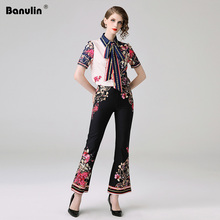 Banulin Fashion Designer Runway Sets 2019 Summer Women Short Sleeve Floral Printed Blouse Elegant Tops+Pants 2 Piece Set B6219