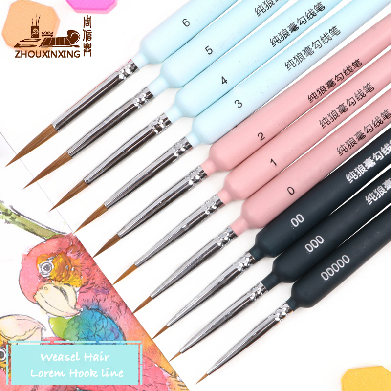 10 piece type Hook line pen watercolor soft hair oil painting extra fine weasel hair Hand Painted brush gouache acrylic painting(China)