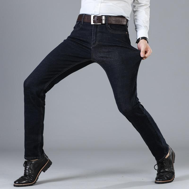 2019 New Men's Brand Stretch Jeans Business Casual Slim Fit Denim Pants Black Blue Trousers Jeans Male Plus Size 38 40 42