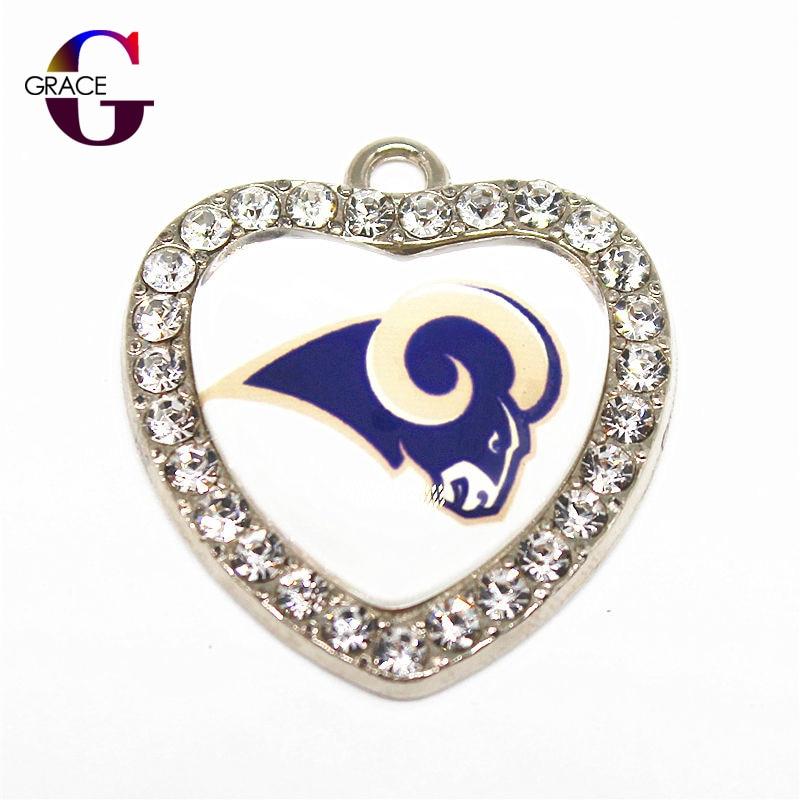 Crystal Glass Heart Los Angeles Rams Sport Hanging Dangle Charms Fit DIY Women Men Bracelet Necklace Pendant Earrings Jewelry