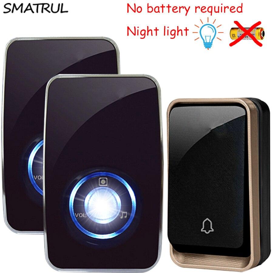 SMATRUL auto alimentado sensor de luz da noite sem bateria Campainha Sem Fio À Prova D' Água EU plugue Porta Bell 1 2 botão inteligente 1 2 Receptor