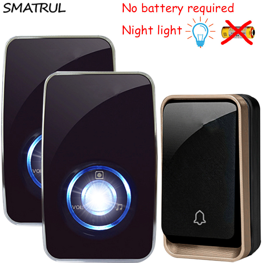 SMATRUL autoalimentado Impermeable Timbre Inalámbrico sensor de luz nocturna sin batería UE plug inteligente Timbre de La Puerta 1 2 botón 1 2 Receptor