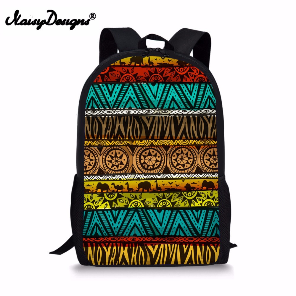 95c5e53d03e0 Noisydesigns School Bags For Girls Boys Retro African Traditional Bookbag  For Teenager Fashion Travel Women s Rucksacks Bag Drop