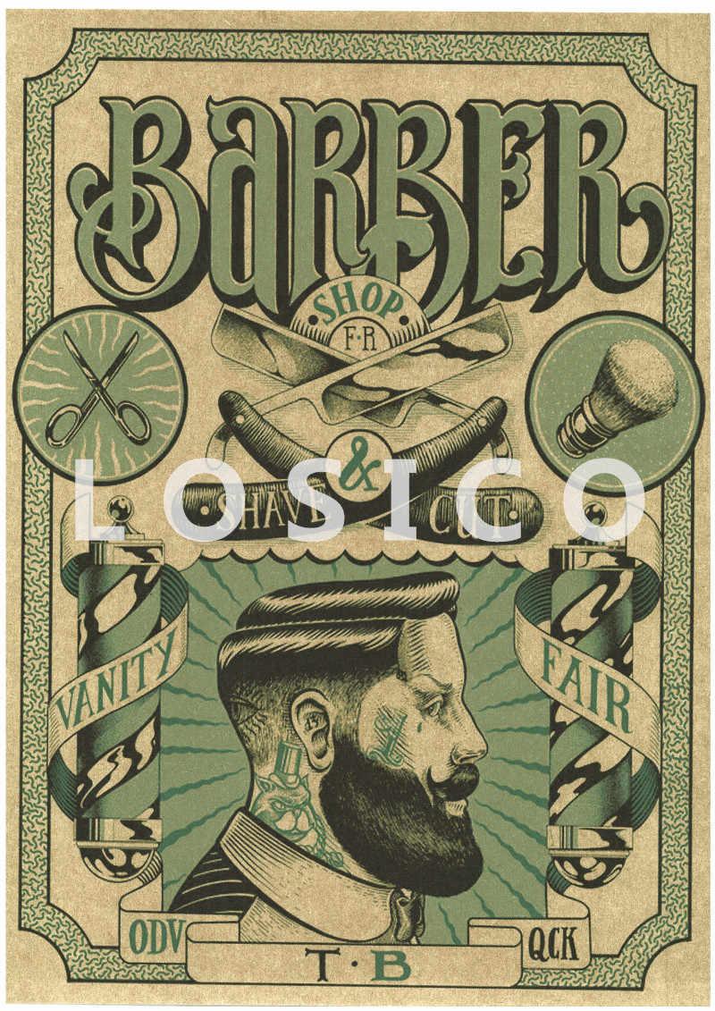 Nostalgiczny Retro papier pakowy plakat kreatywny fryzjer tatuaże HD drukuj malarstwo naklejki ścienne fryzjer sklep wystrój domu