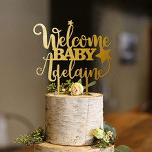 Personalized Star Welcome Baby Cake Topper Girl Shower Boy Gold Glitter Custom