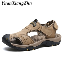 summer men shoes classic sandals fashion outdoor for genuine leather plus size beach sandale homme