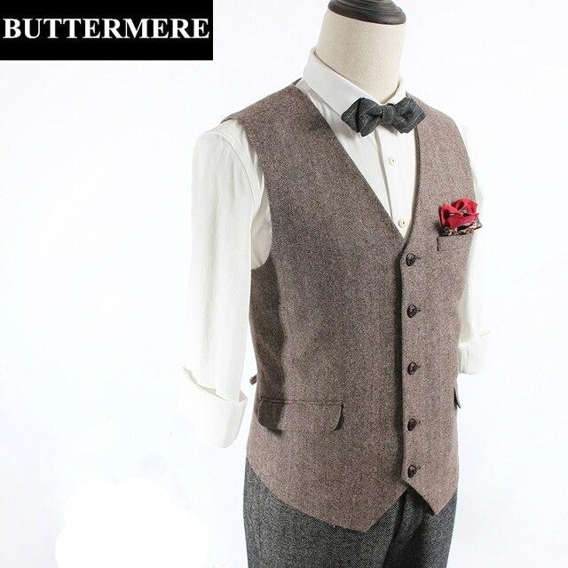 Tweed de lana de espiga chaleco para hombre chaleco vintage traje de chaleco sin mangas de la chaqueta marrón gris slim fit ropa de moda