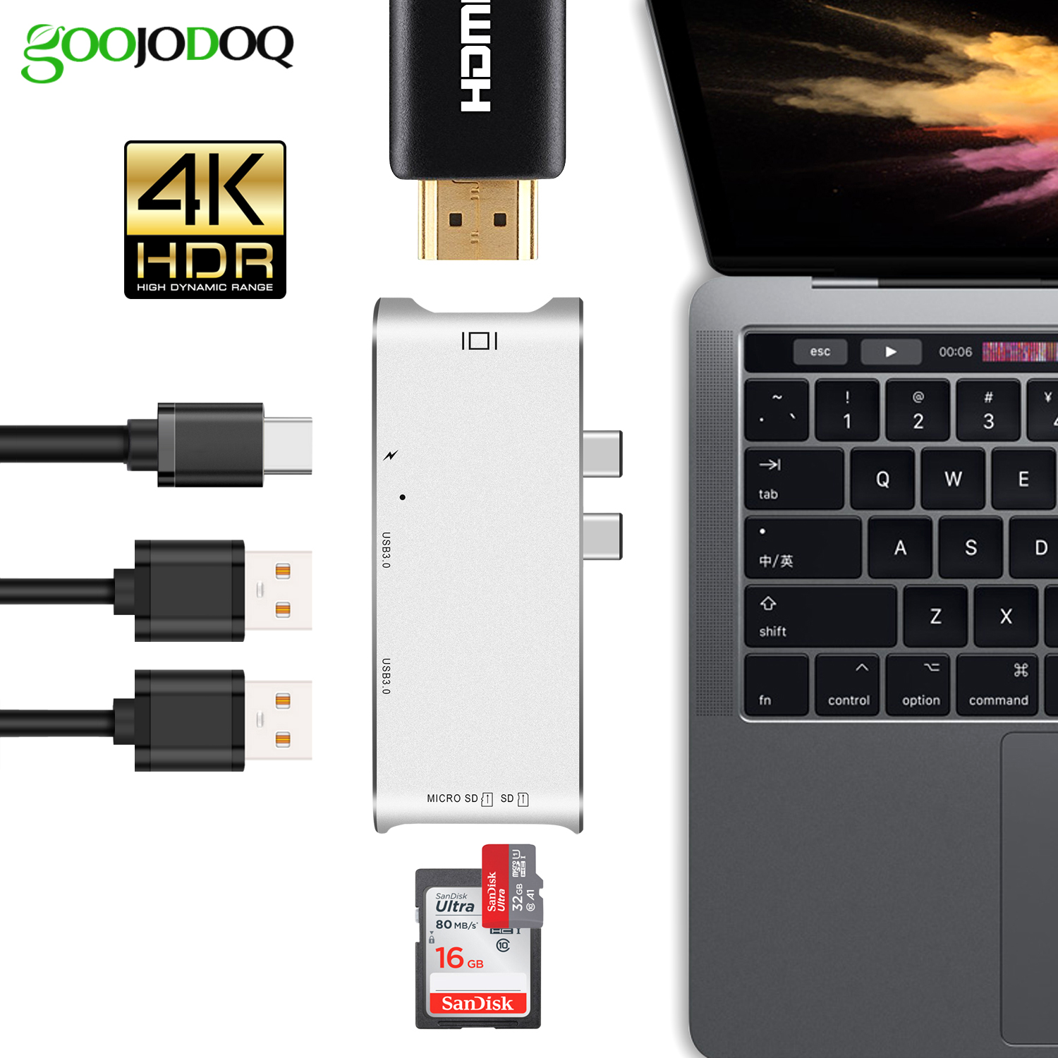 USB C HUB HDMI for MacBook Pro Hub Adapter, thunderbolt 3 USB-C HDMI USB 3.1 SD/TF Card Reader+ Type-C Power Delivery Type C Hub dual usb 3 1 type c hub to card reader usb c hub 3 0 adapter combo with tf sd slot for macbook pro 2016 2017 usb c power deliver