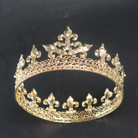 Snuoy Big King Crown Gold Retro Court Crown For Men Wedding Hair Accessories Vintage Pageant Diadem Fashion Style Drop Shipping