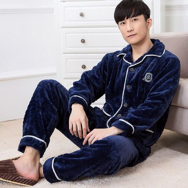 Мужчины Пижамы Зима Осень мужской толстые фланелевые пижамы установить с длинным рукавом плюс размер случайный гостиная синий гэри горячей продажи MSET001