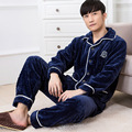 Men Pajamas Winter Autumn male thick flannel sleepwear set long-sleeve plus size casual lounge blue gary hot sale MSET001