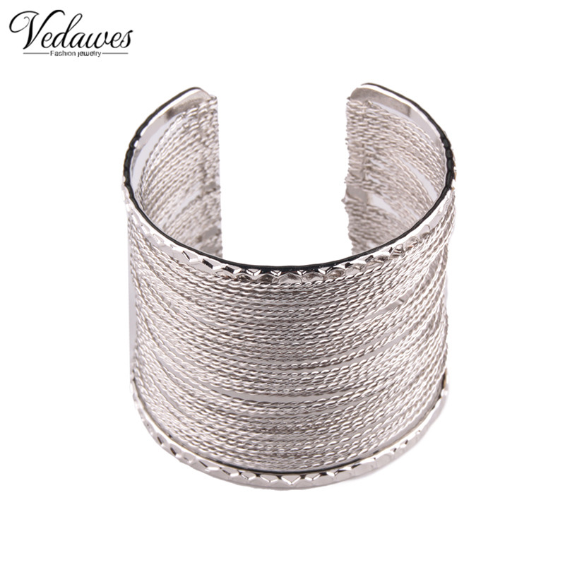 Vedawas Fashion Punky Style Hollow Cuff Retro Braid Bangles For Women Charm vintage Multilayer Wide Bracelet xg513