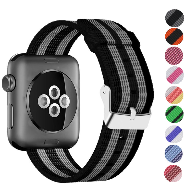 ASHEI for Apple Watch Nylon Strap 42mm Woven Nylon Band for iWatch Series 3 2 1 38mm with Classic Square Stainless Steel Buckle