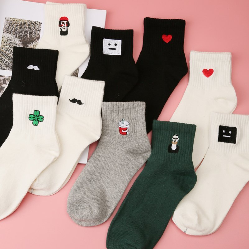 Summer Women Short Socks Cotton Embroidery Cute Sock Harajuku Funny Sox Women's Socks Female Calcetines Mujer