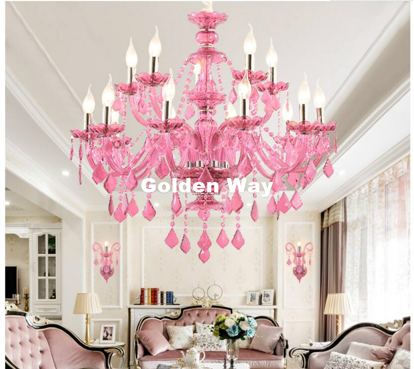 Modern Chandelier Pinky Hanging Lighting European Style Glass ...