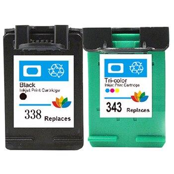 1Set Refilled Ink Cartridge For Compatible HP 338 343 Photosmart C3100 C3110 C3140 C3150 C3170 C3180 C3190