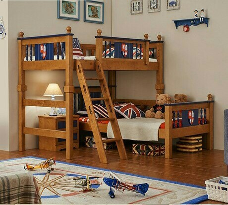 Children Bed kids Furniture home Furniture oak solid wood kids beds child bed chambre bebe bunk bed with ladder & cabinet hot