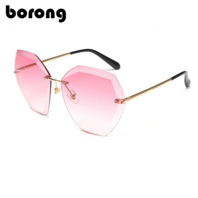 481a7593dc8b6 Borong Transparent Gradient Lunettes de Soleil Femmes lunettes de Soleil  Élégant Optique Sans Monture lunette femme