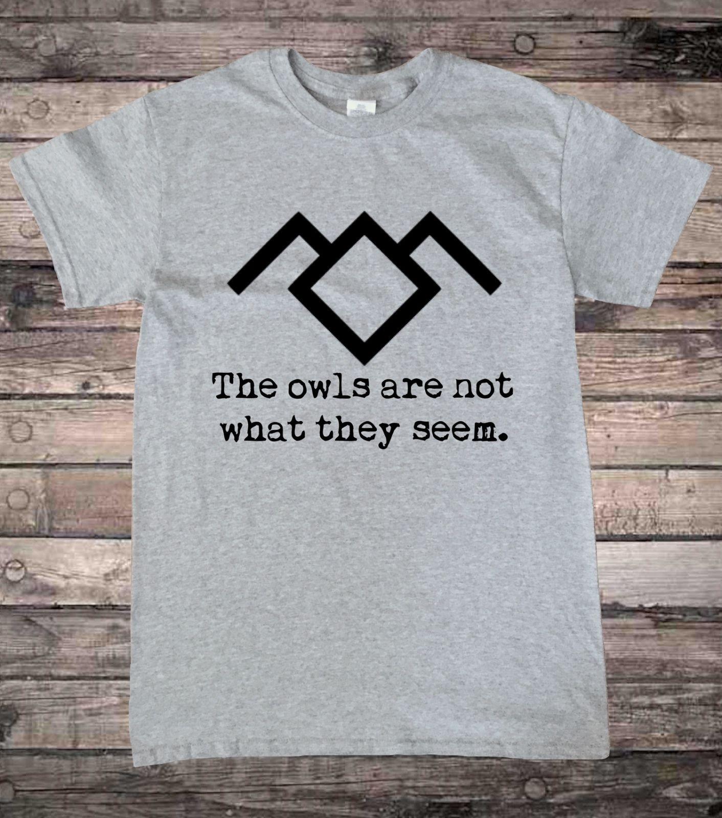 Twin Peaks Black Lodge Owl Quote T-Shirt Short Sleeve T Shirt Men T-Shirt Male Hipster Tops Sleeves Boy Cotton Men T-Shirt