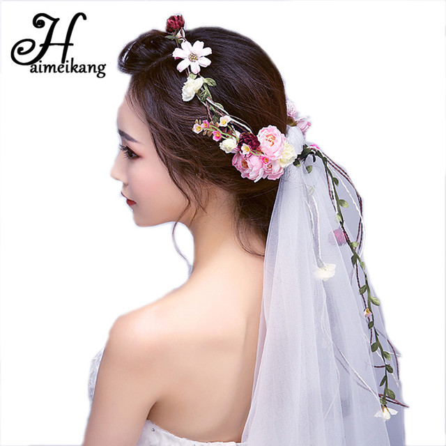 Haimeikang Flower Head Wreath Veil Fabric Bridal Headpiece Hairbands Wedding  Hair Accessories Flower Crown Women Headbands 4a1acc2b6cd